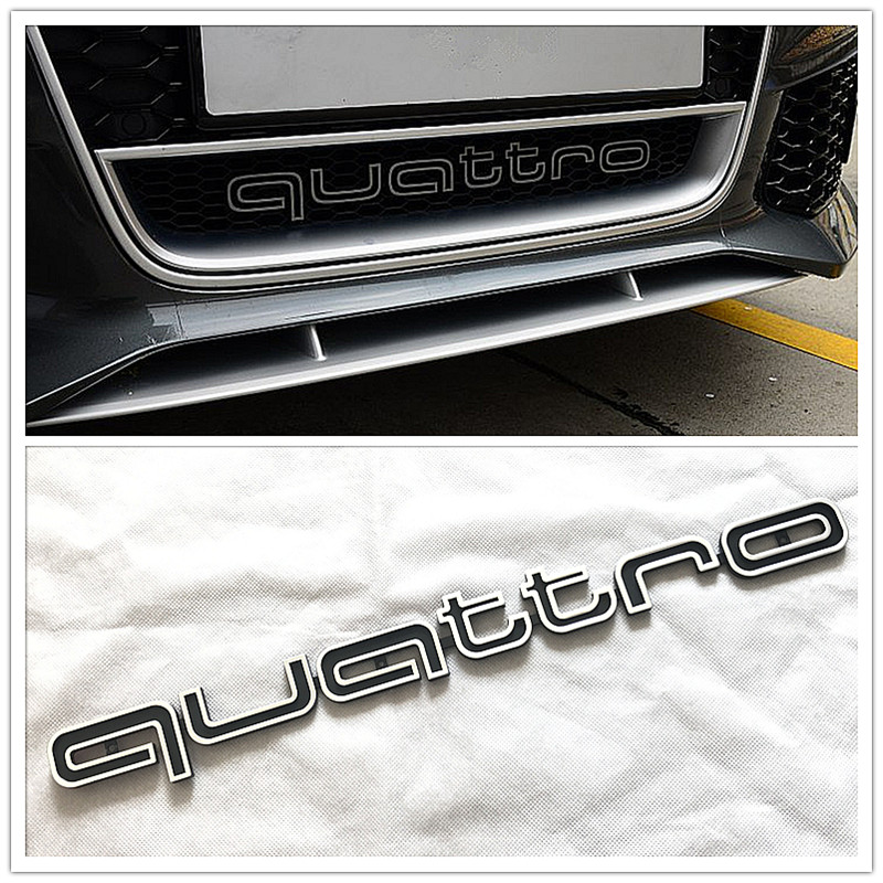 car styling Quattro Logo Emblem Badge Car Stick ABS Stickers front grill Lower trim For Audi A4 A5 A6 A7 RS5 RS6 RS7 RS Q3