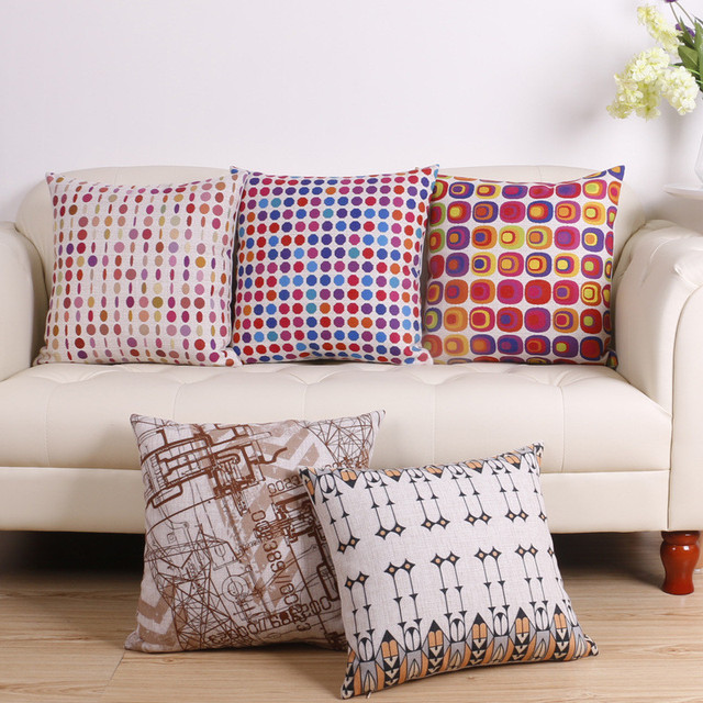Wholesale Wedding Party Gift Fresh Stylish Brown Checkered Geometry  Decorative Cushion Cover Car Home Sofa Decor
