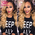 Fashion ombre body wave synthetic lace front wig ombre blonde wavy wigs heat resistant synthetic wigs for black women