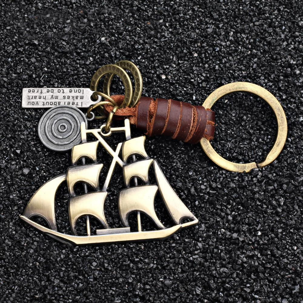 Yaducan 2019 charm jewelry Vintage Handwork Weave Genuine Leather Sailboat Keychain simple Alloy Accessories Men Key Chain