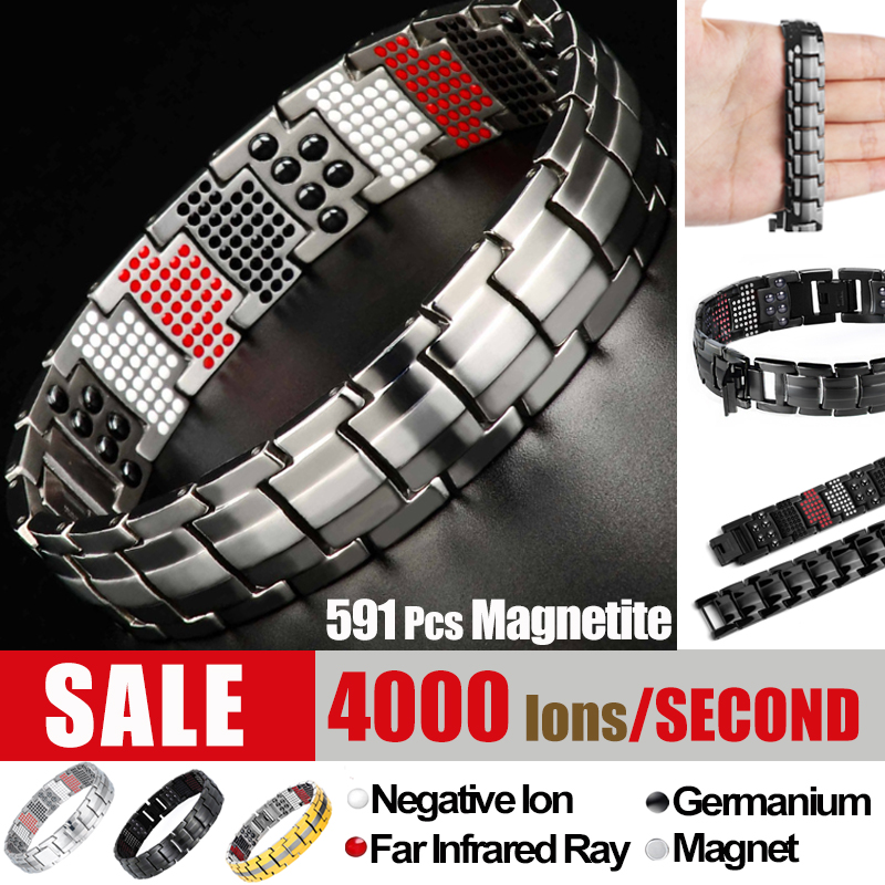 Titanium Magnetite Black Golden Magnetic Bracelet Men Stainless Steel Energy Germanium Magnet Health Men Silver Color Bracelets