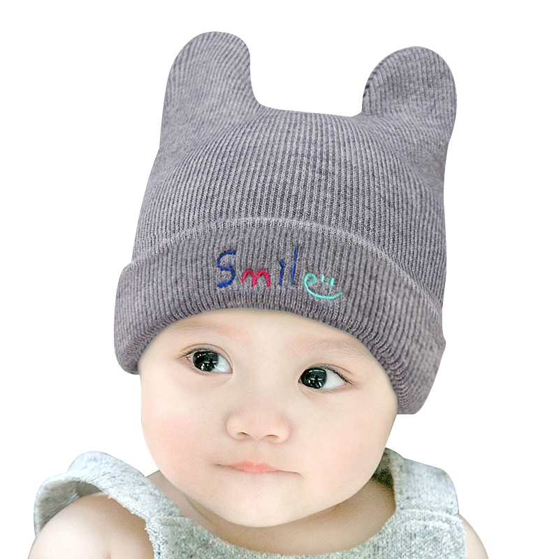 Smile Cute Baby Hat Knitted Cotton Infant Beanie Thick Autumn Winter Hat For Girls Boys New Crochet Baby Beanie Hat Rabbit Ears