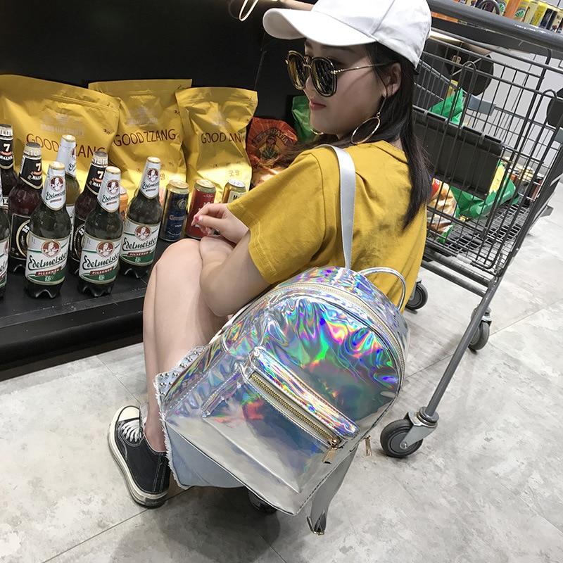 Harajuku School Preppy Backpack Hologram Pu Women Backpack For Teenager Student Shoulder Bag Females Travel Daypack Mochila