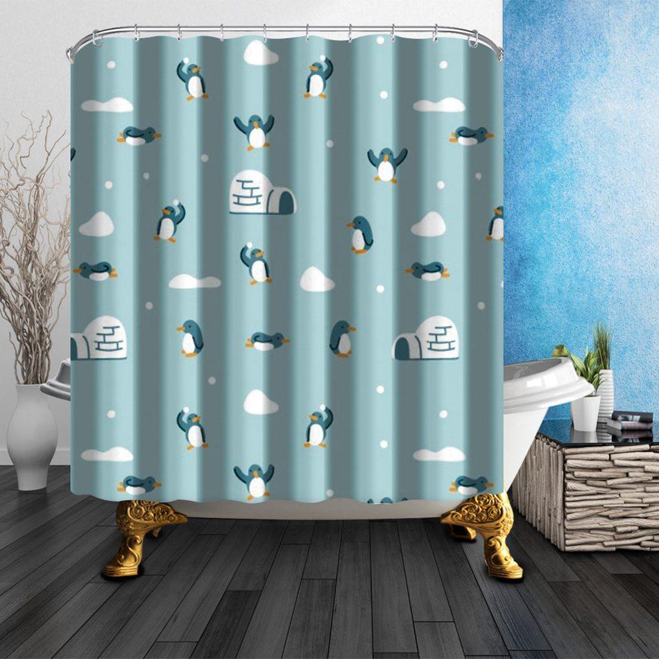 creative cute cartoon penguin shower curtain polyester bathroom curtains funky shower curtains waterproof bathroom decor