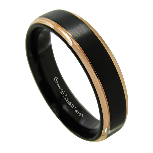queenwish tungsten wedding ring men women black rose gold stepped edge polished fancy engagement bands - Tungsten Wedding Rings For Men