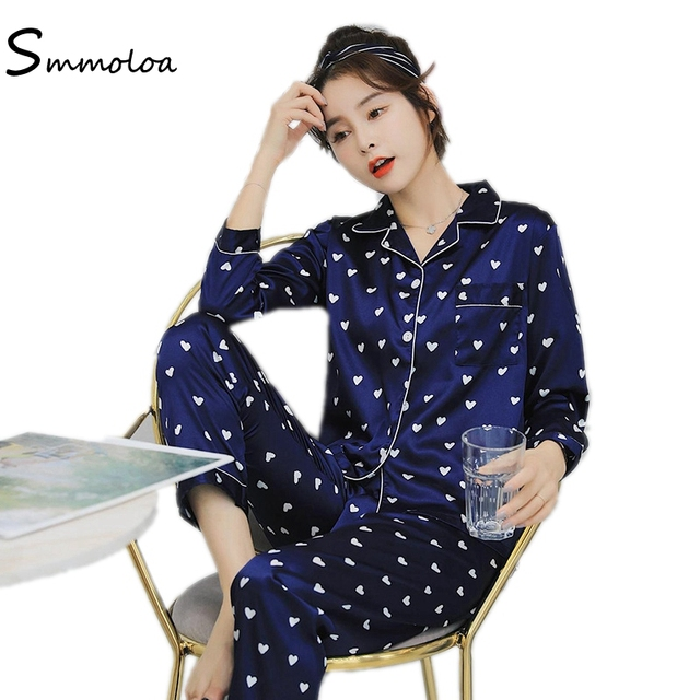 Smmoloa Wholesale Women Printed Long sleeve Silk Pajamas 2 piece Sleepwear 0c3f41f76