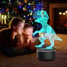 Акриловый 3d ночник 7 цветов светодиодный с динозавром для спальни