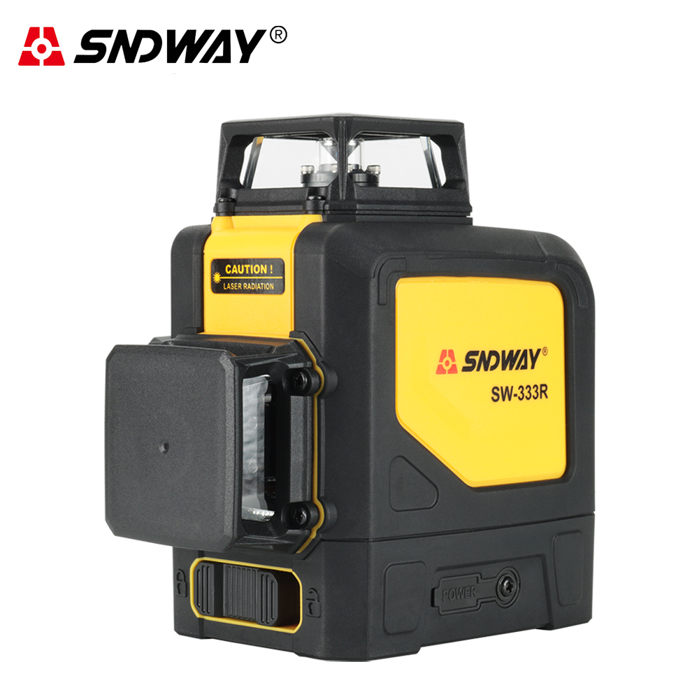 Sndway 3D 12 Linhas de Nível A Laser Verde Vermelho 360 graus Horizontal nível nivelador a laser Vertical Super Poderosas Linhas Cruzadas SW-333R