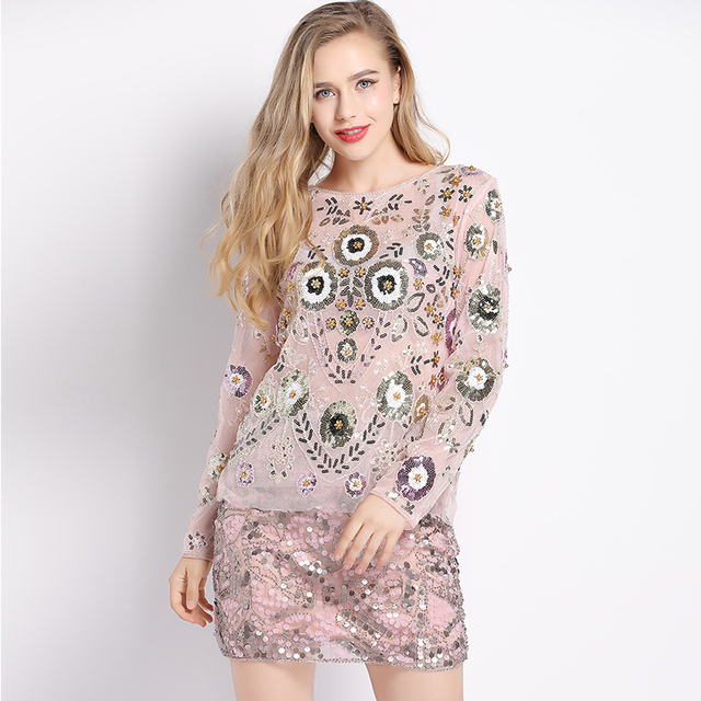 2018 Spring Women Shirts Luxuary Vintage Embroidered Floral Sequin Bead  Pearl Embellished Mesh Long Sleeve Applique e9d0d9ee8f86