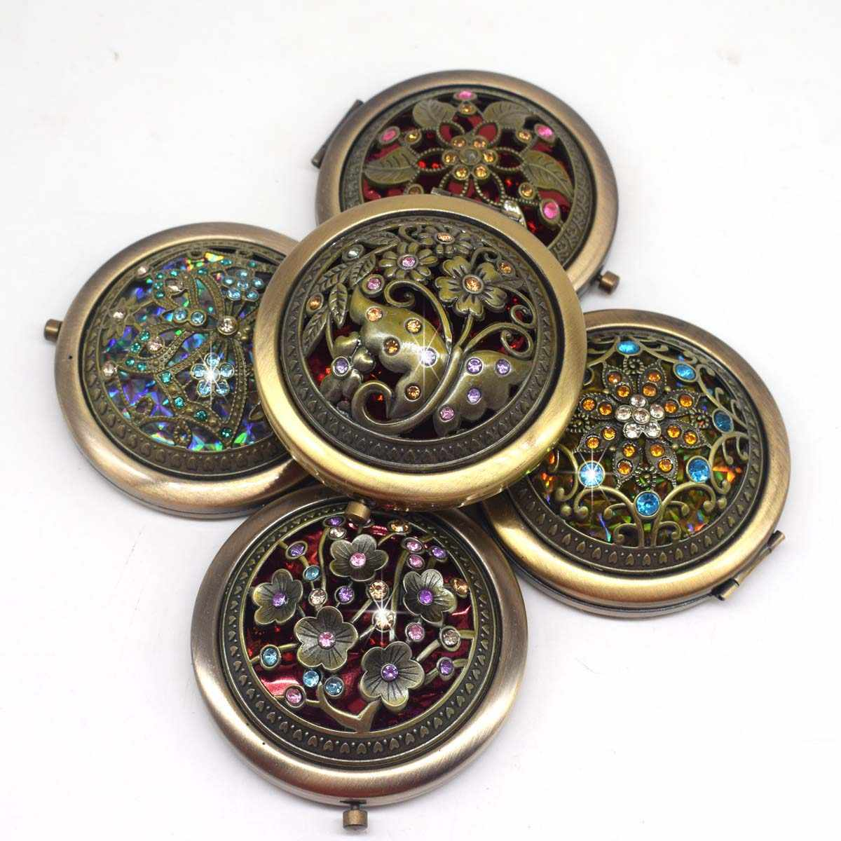 Bronze Color Flower Diamond Metal Portable Pocket Mirror Mini Two-sides Folding Makeup Mirror Vintage Butterfly Cosmetic Mirrors