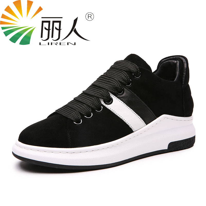LIREN Size 34-39 Women Casual Shoes 2017 Lace Up fashion High-quality Walking Flat Shoes Genuine Leather Black Brown high quality full cow skin genuine leather flat casual ankle boots women 2016 black white lace up fashion autumn walking shoes