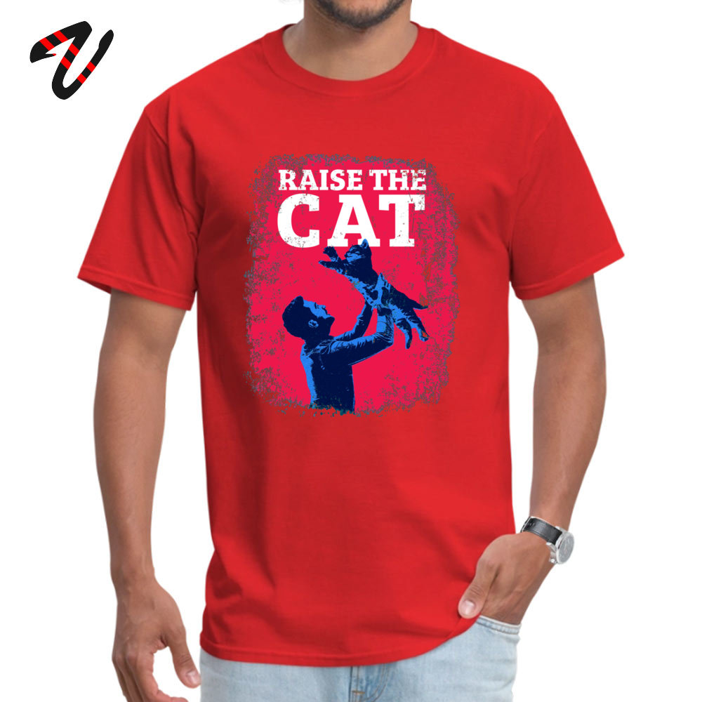 Raise The Cat T Shirt Brand New Short Sleeve Unique Pure Cotton Round Collar Men Tops & Tees Funny Tee Shirt ostern Day Raise The Cat -19278 red