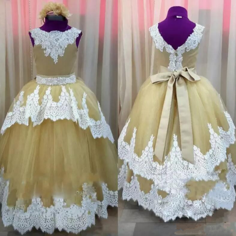 Customized Ball Gown 2018 Fluffy Flower Girls Dresses Tulle Applique Lace Ankle Length Sleeveless Communion Gown Actual Image customized ball gown 2018 fluffy flower girls dresses tulle applique lace ankle length sleeveless communion gown actual image
