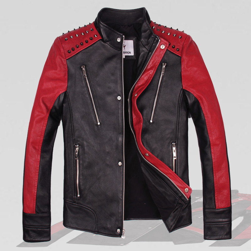 2017 Men Genuine Rivet Leather Motorcycle Jacket Black Stand Collar Vegetable tanning Sheepskin Slim Fit Men Winter Biker Coats