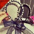 Новинка смоделированные-жемчуг волна группы кружева луки ленты для волос для девочек головные уборы волос аксессуары для женщин