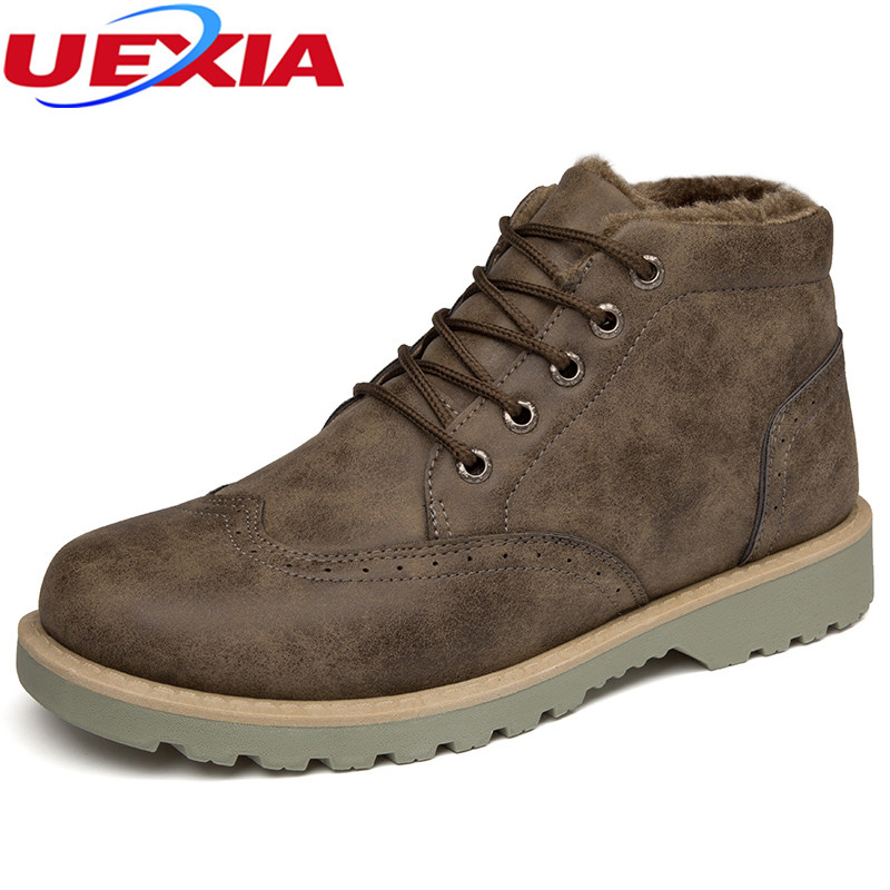 UEXIA New Men High Top Shoes Flats Fashion Casual Shoes Comfort Winter Warm Fur Plush Men Leather Footwear Snow Bottes Botas Bot 2017 new autumn winter british retro men shoes zipper leather breathable sneaker fashion boots men casual shoes handmade