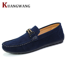 High Quality Suede Leather Men Casual Shoes Breathable Fashion Footwear Male Loafers Shoes Black Mens Shoes Walking Flats Sales