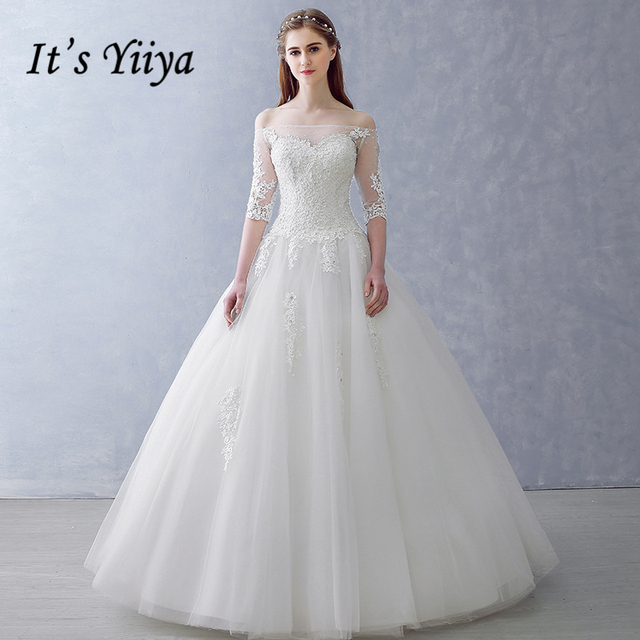 It\'s YiiYa Boat Neck Wedding Dresses High Quality Wedding Gown Lace ...