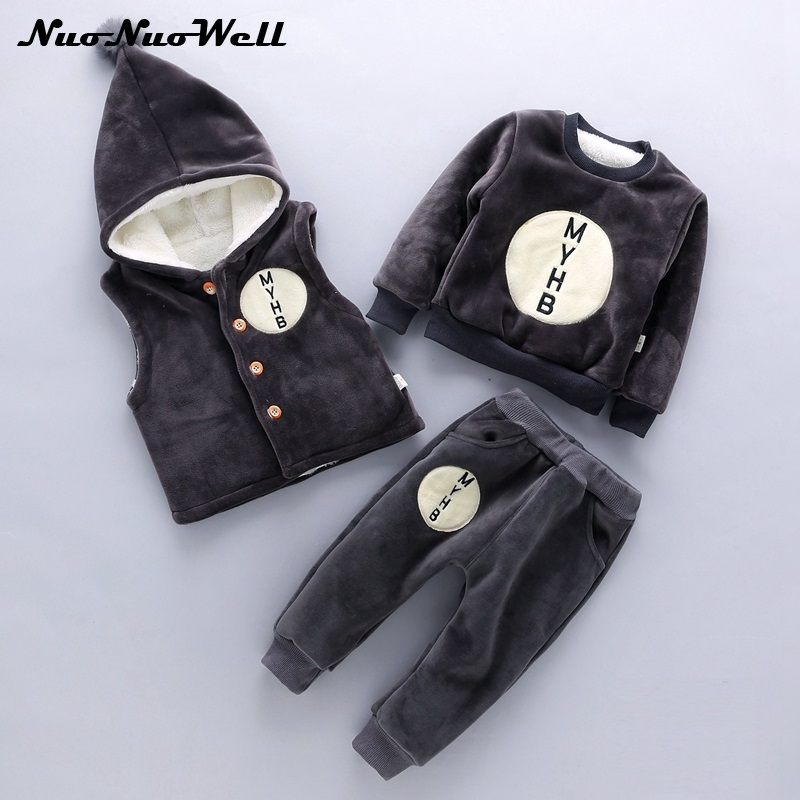Children Sets in Winter Baby Boys Girls Clothing Sets 3Pcs Hooded Thickening Jacket+Pants+Vest Warm Kids Clothes Suit Costume autumn winter boys girls clothes sets sports suits children warm clothing kids cartoon jacket pants long sleeved christmas suit