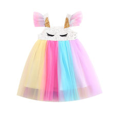 Ins Fashion Girls Unicorn Dress Rainbow Tutu Dress Sequins Princess Dress Kids Frocks Unicornio Party Dress Elegant Clothes(China)
