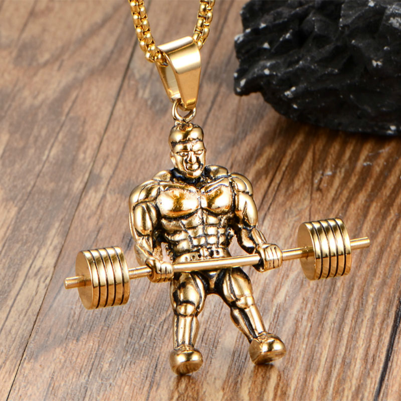 barbell weight ip jewelry pendant plate inch dumbbell fitness chain unisex sterling necklace silver gym