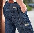 New Men Carga Calças Outono Inverno geral Reta Soltos Mais calças de Brim do bolso Moda Casual Homem Calças Bottoms