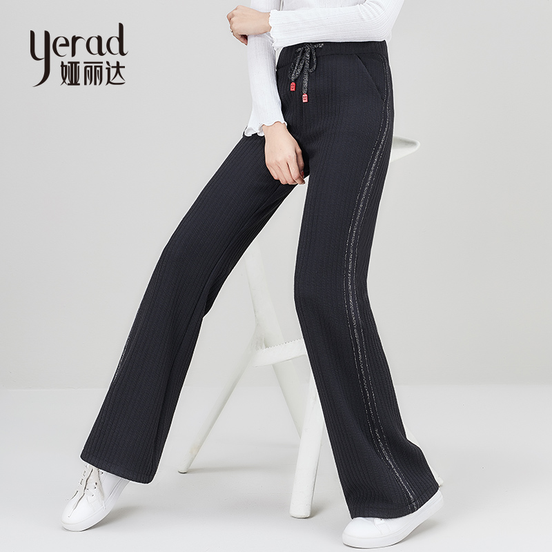 YERAD 2019 Spring Women   Wide     Leg     Pants   Casual Loose Elastic Waist   Pants   Side Stripe Drawstring Long Palazzo Trousers