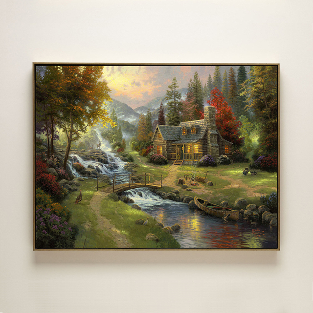 thomas forest waterfall house landscape canvas printing oil painting