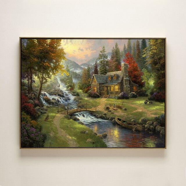 Nietypowy Okaz Thomas las wodospad dom krajobraz druk na płótnie obraz olejny DK74
