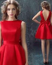 Neuen Roten Kurzen Abendkleid Schöne Bogen A-linie Homecoming Kleider Mode Backless Sleeveless Party Kleider Homecoming Kleider