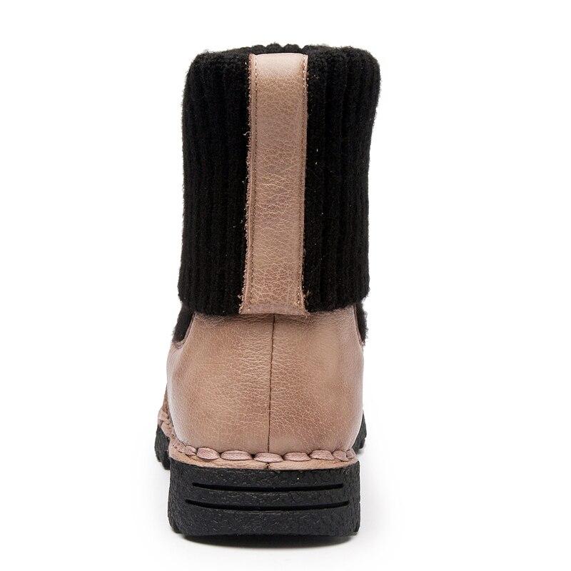 Schwarzes Mit Leder Stiefeletten Winter rosa Schnee Gktinoo Flache Echtem Handmade Schuh Stiefel Samt Frauen Beiläufige Bequeme Schuhe R8w5c5Zyq