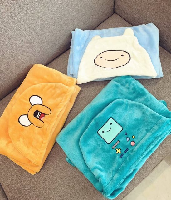 1pc Adventure Time robot cloak tippet shawl soft little plush blanket flannel office rest toy baby outdoor gift