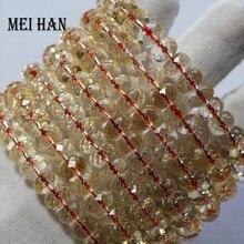Venta al por mayor (1 pulsera/set/28 cuentas) 5 7*8 9mm natural citrino pulsera facetada rondelle pulsera cuentas para mujer pulsera regalo