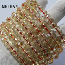 Wholesale (1bracelets/set/28 beads) 5 7*8 9mm natural citrinee bracelet faceted rondelle bracelet beads for women bracelet gift