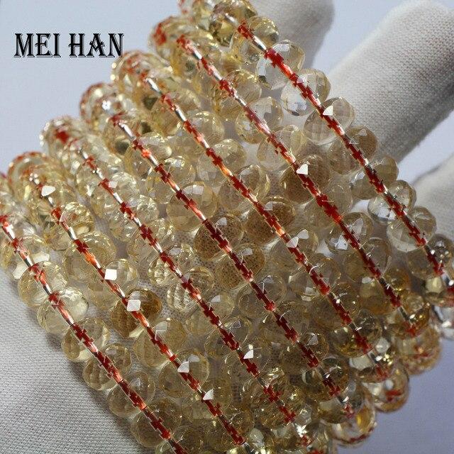 Wholesale (1bracelets/set/28 beads) 5 7*8 9mm natural citrinee bracelet faceted rondelle bracelet beads for women bracelet gift