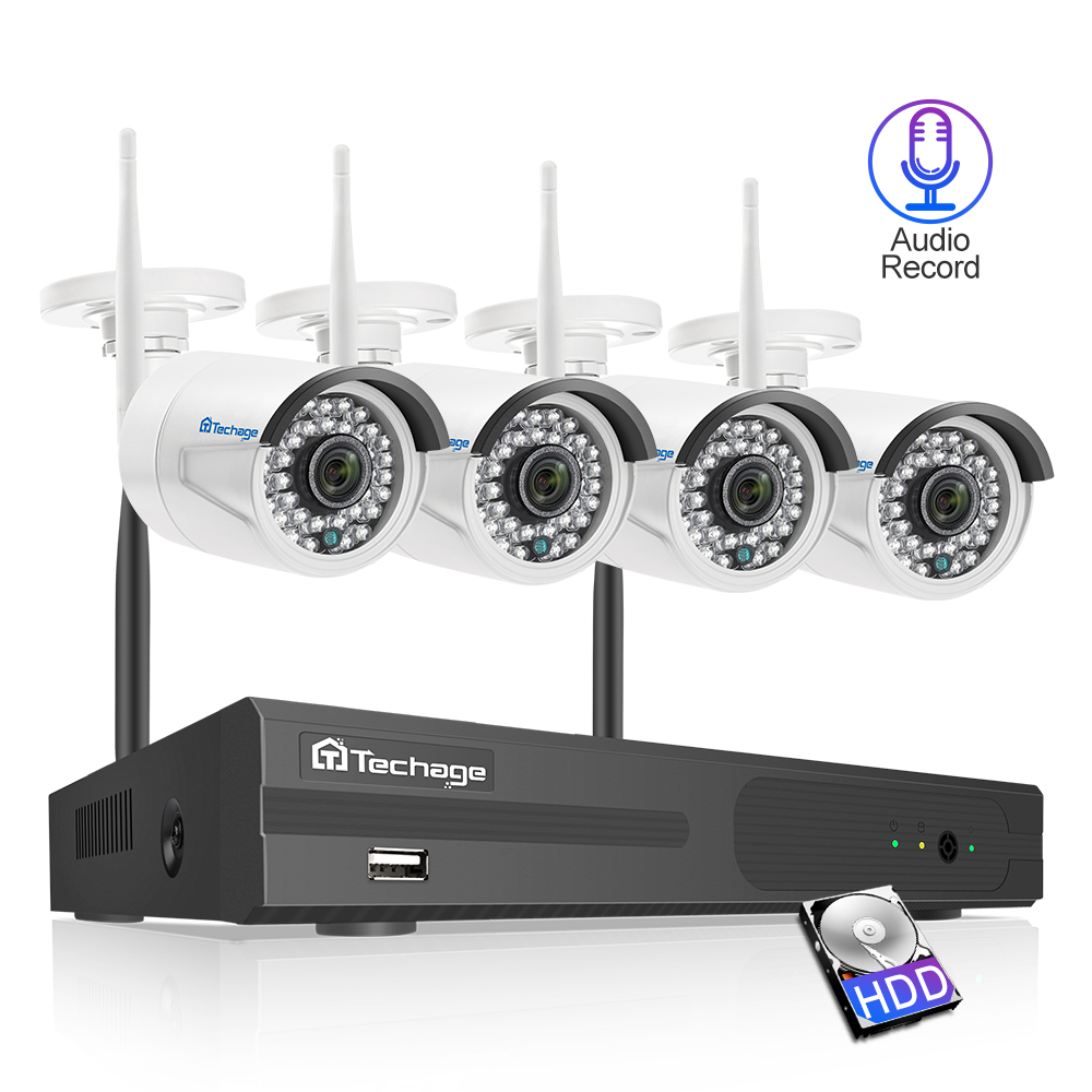 Techage 4CH 1080P Draadloze Bewakingscamera NVR Systeem 2MP HD Wifi Outdoor Indoor CCTV Camera Audio Sound Record Surveillance kit-in Bewakingssysteem van Veiligheid en bescherming op AliExpress - 11.11_Dubbel 11Vrijgezellendag 1