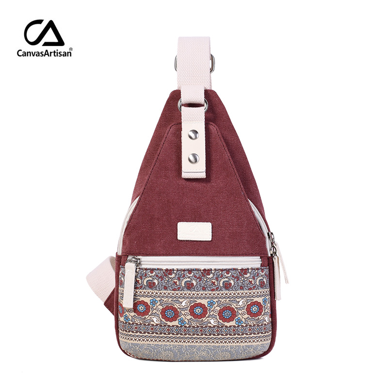 Canvasartisan new women's canvas crossbody bag messenger bag retro style floral shoulder bag small travel chest bags
