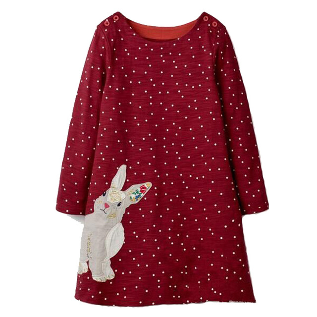 8f51b747242 Girl Dress with Animal Applique Baby Girls Clothes Cotton Tunic Jersey Kids  Dresses for Girls Costume Children Princess Dress