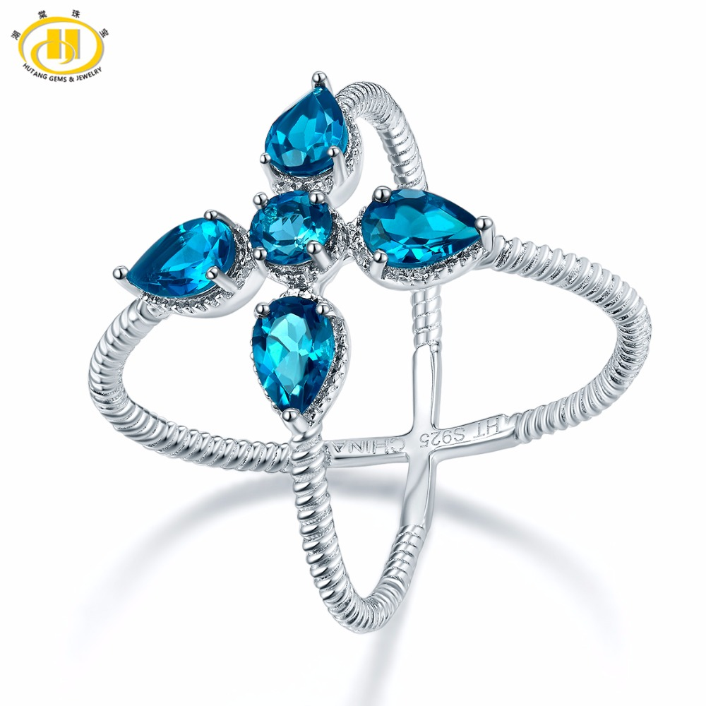 Hutang 2 19 ct Natural Gemstone London Blue Topaz Solid 925 Sterling Silver Crosss Ring Fine