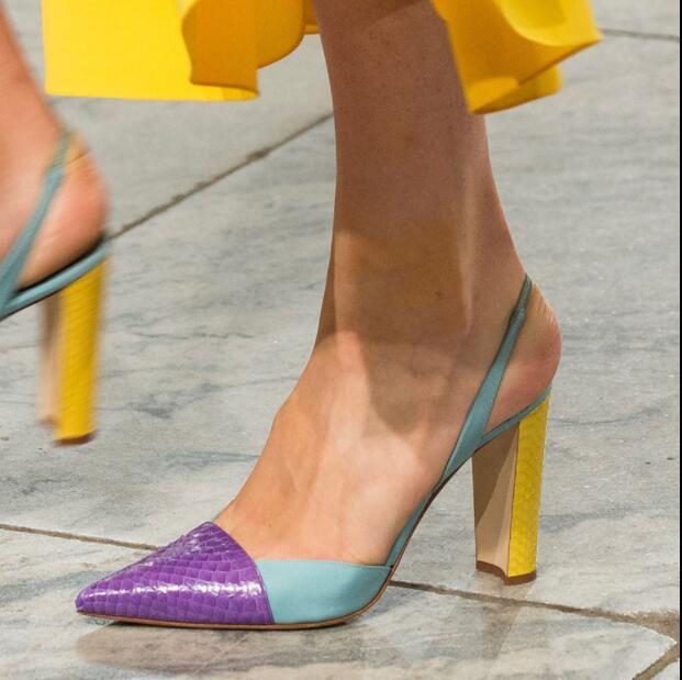 Bout De as Hauts Couleur Femmes Serpent Luxe Zapatos As Pompes Piste Talon Avec Mujer Patchwork Show Chunk Show Pointu Chaussures D'été Talons Photo wFqw6z