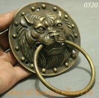Folk Chinese Bronze Copper Collect Lion Head Mask Statue Gate Door Knocker Pair Wholesale 2PCS Copper