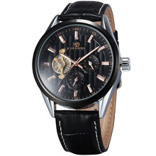 WINNER Classic Luxury Hollow Precision Men's Mechanical Wrist Watch Leather Strap Sub Dials Tourbillon W/ Box