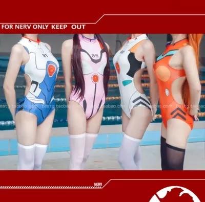 [Stock]Anime EVA Sexy Piece swimsuit figures Rei Asuka Makinami Shinji Ikari cosplay costume Thicken Lycra S-XL High quality