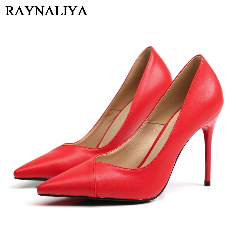 Black Red Fashion Women Pumps Pointed Toe Ladies Genuine Leather Heels Shoes Shallow Thin Heel Work High Heel Shoes BLY-A0058 allbitefo fashion sexy thin heels pointed toe women pumps full genuine leather platform office ladies shoes high heel shoes