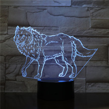 Wolf Night Lamp 3D Illusion 7 Color Changing Decorative Light Child Kids Boy Girl Gift Animals Desk LED Night Light Bedside