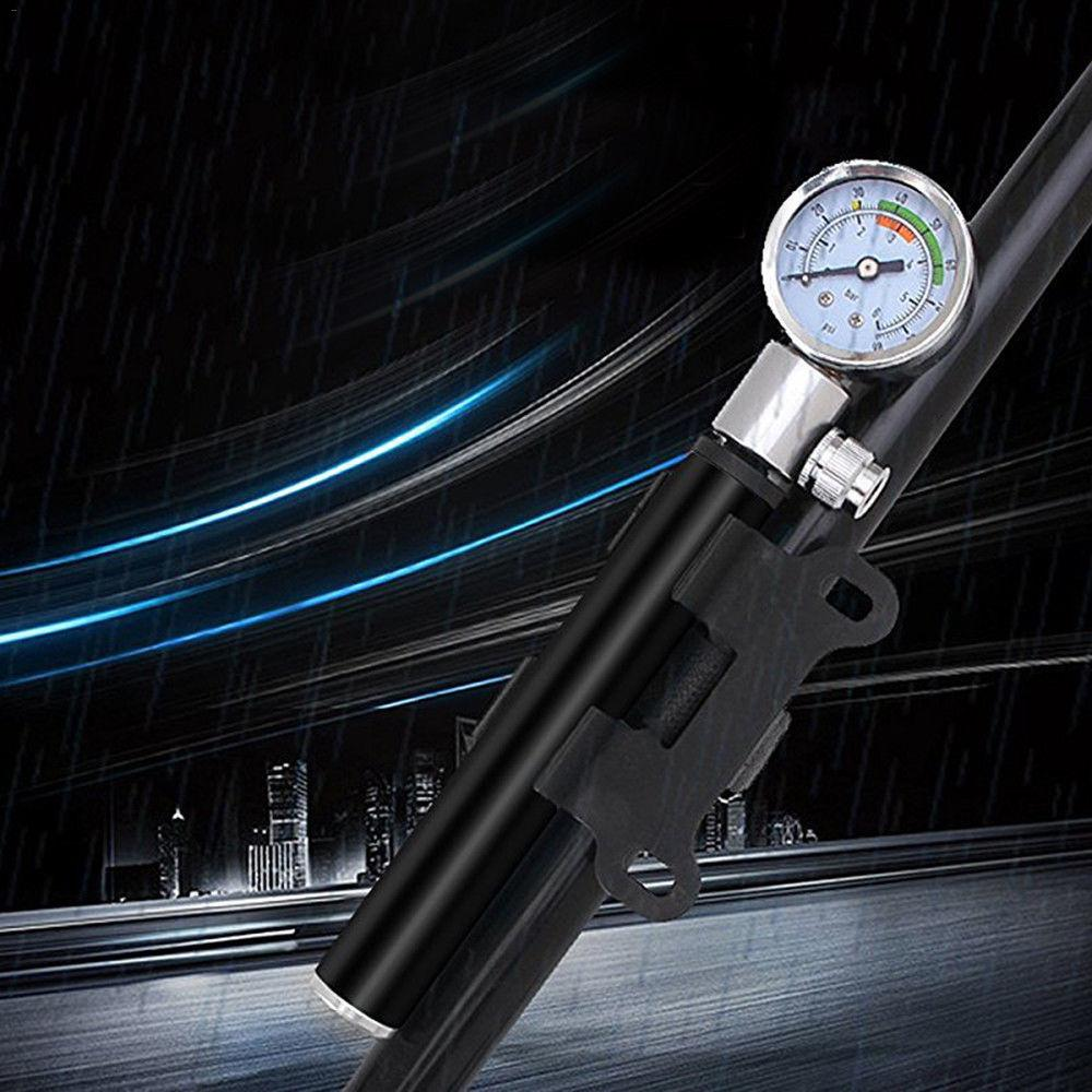 Manual Mini Air Inflator Bicycle Air Pump Outdoor Cycling Portable Inflators With Pressure Gauge Bike Shock Fork Tire Pump