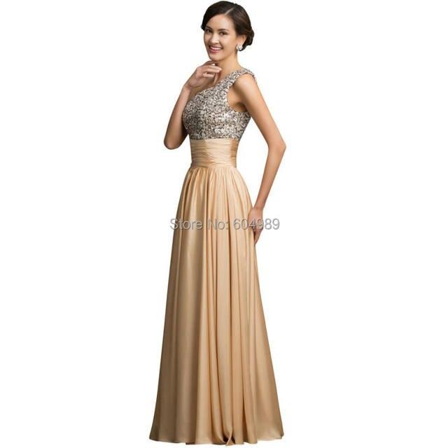 Online Shop One Shoulder Evening Dress Grace Karin Sequin Gold 2018 ...