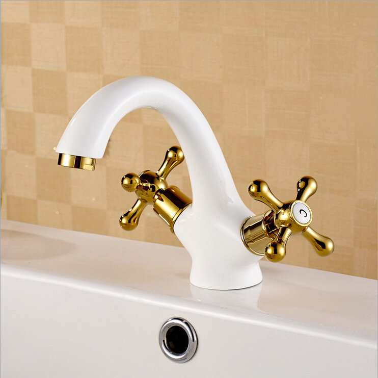 White and Golden hot cold Bathroom Sink taps Deck Mount Brass Two Handle basin faucet Mixers