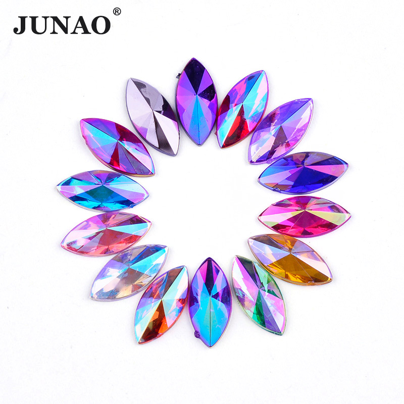 JUNAO 5*10mm 7*15mm Mix Color Crystal AB Horse Eye Rhinestones Flatback Acrylic Stones Non Sewing Scrapbook Beads for Dress