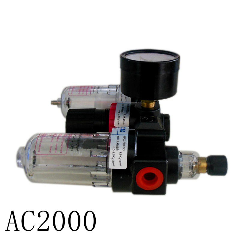 Pneumatic AC2000 1/4 with copper cartridge Manual drain pressure gauge airtac type air filter regulator lubricator 1 4 bfr 2000 air source gas treatment pressure filter regulator model bfr2000 with pressure gauge
